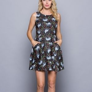 Sloth print skater dress with pockets